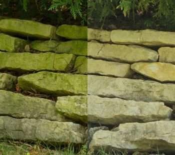 photo showing landscaping stones before and after using the spray
