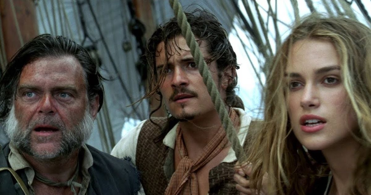 """Orlando Bloom as Will Turner and Elizabeth Swann in """"Pirates of the Caribbean"""""""