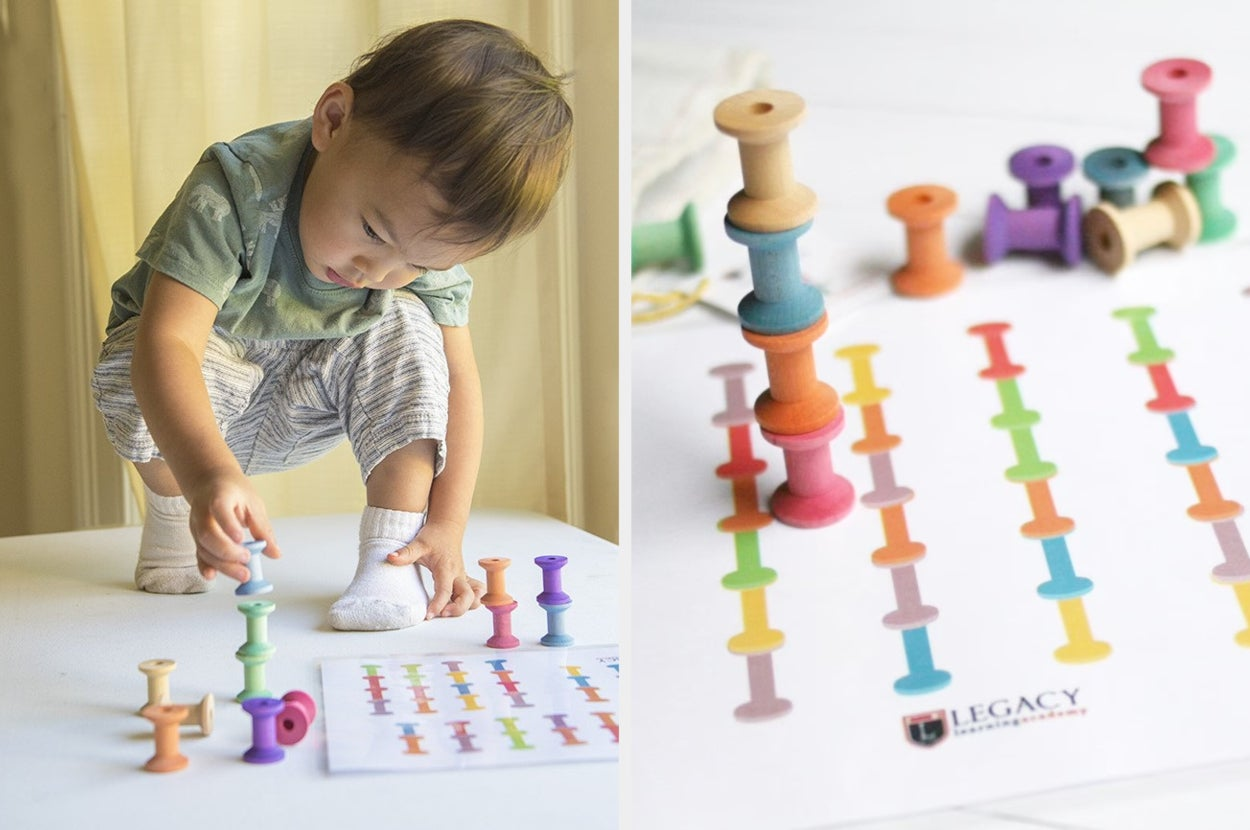 Split image of child model playing with colorful wooden spools next to a stack of spools