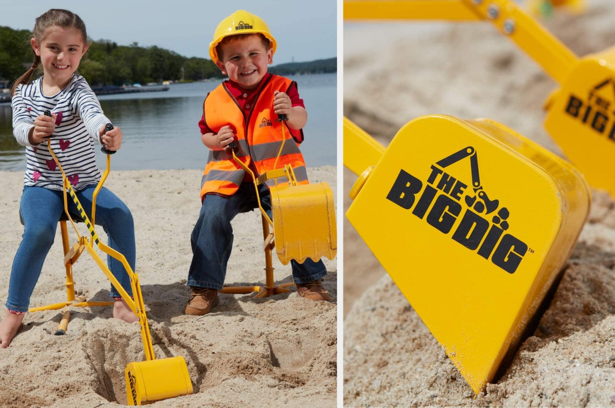 Split image of child models playing with yellow digger in sand and a closeup