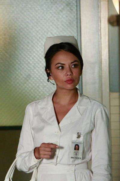 Mona Vanderwaal dressed in an old-fashioned nurse's uniform