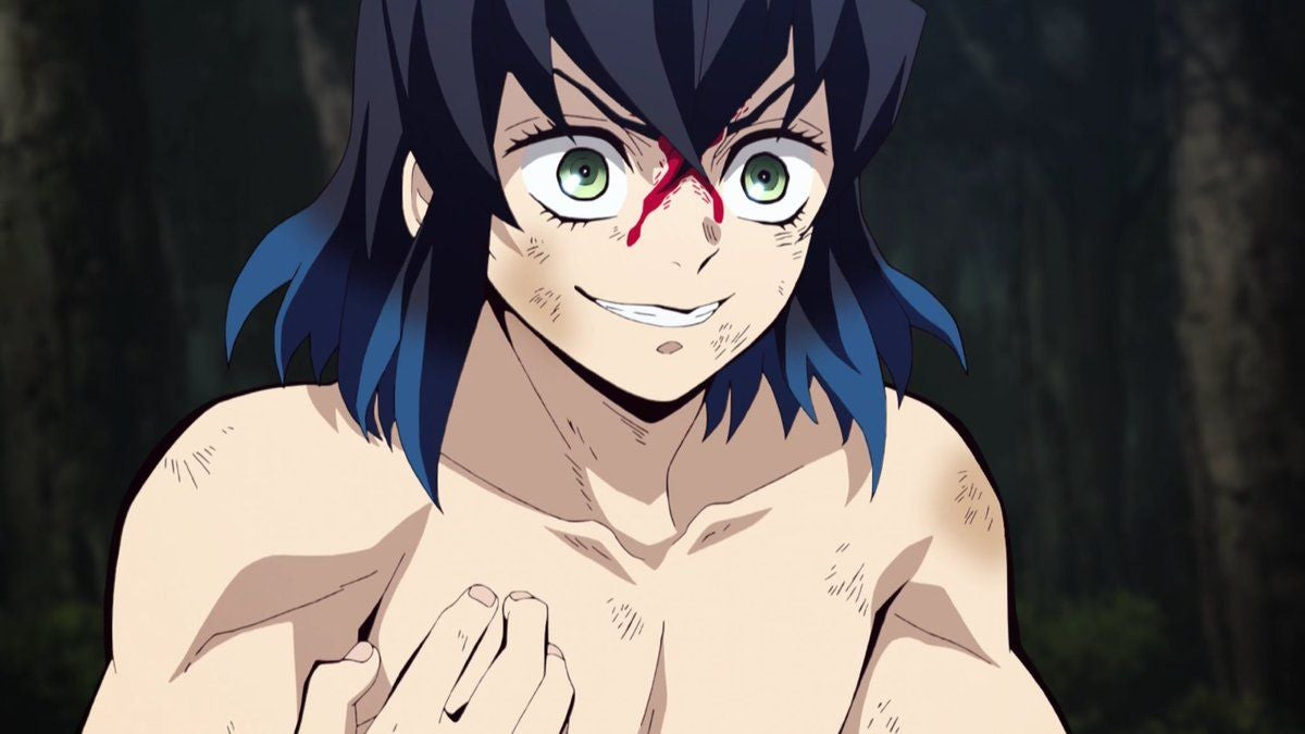 animated young man who is shirtless with shoulder length hair looking angry