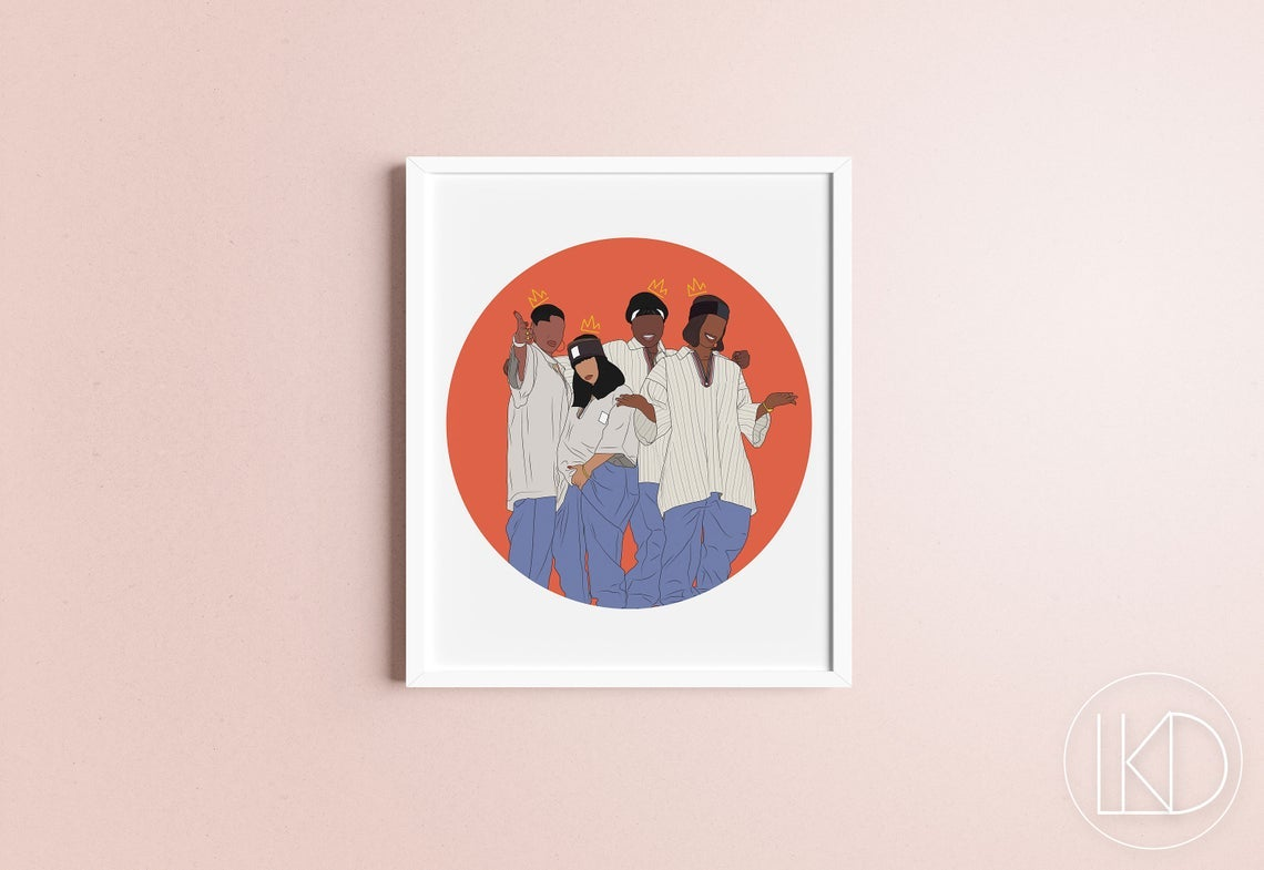 art print of xscape group members illustrated in front of a red circle