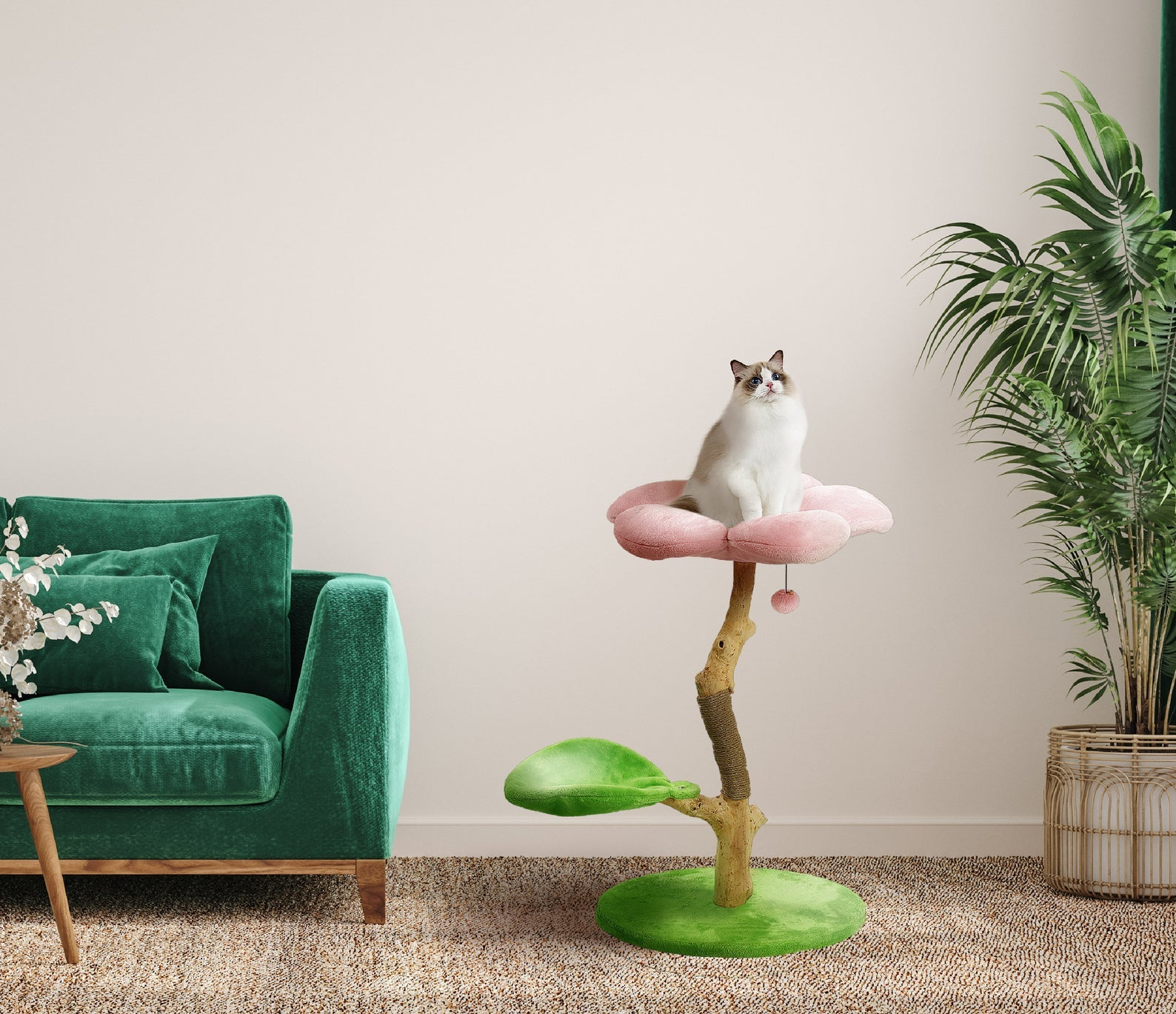 cat sitting on a flower perch with a second spot for sitting shaped like a leaf