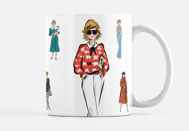 the mug with various illustrations of princess diana on it