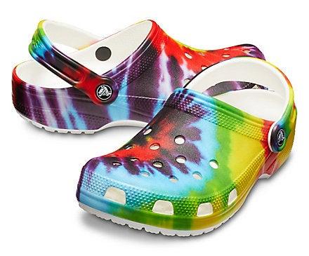 rainbow tie-dye crocs
