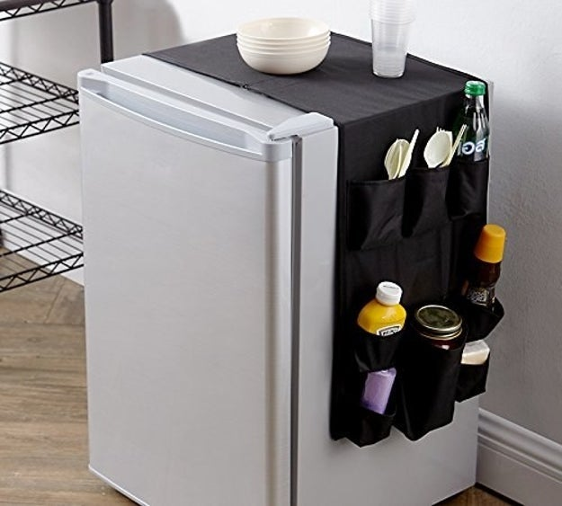 Reviewer photo of the organizer on the mini fridge