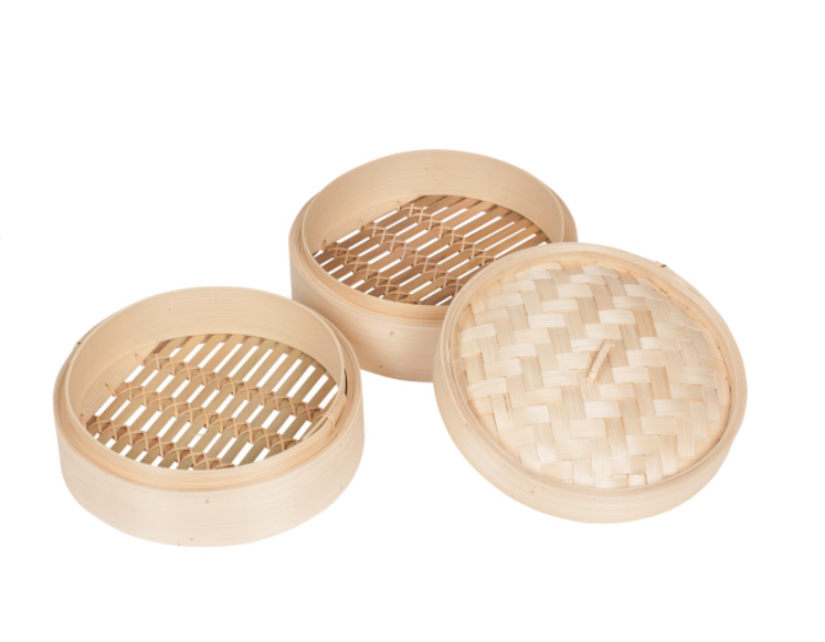 Two bamboo steamers, one bamboo lid
