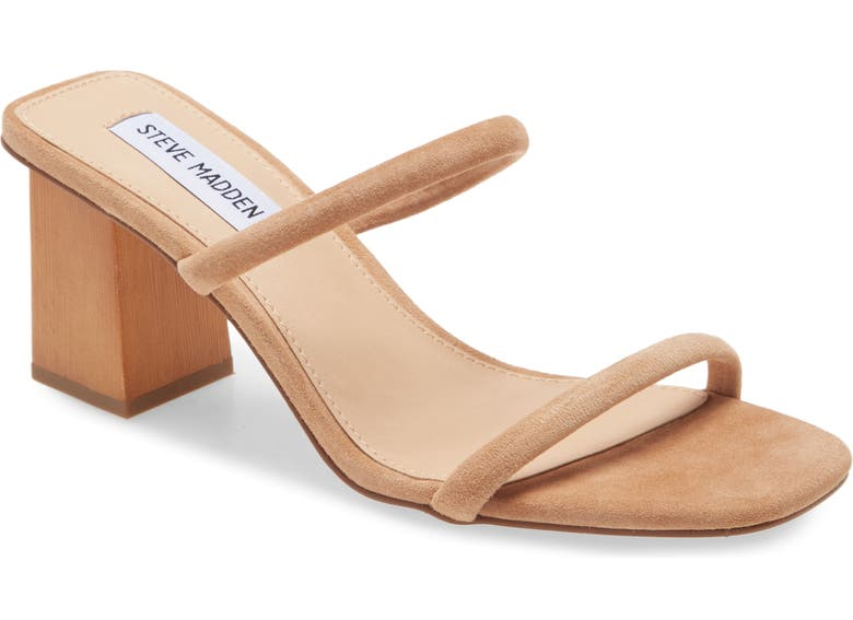 honey colored sandals with a block heel