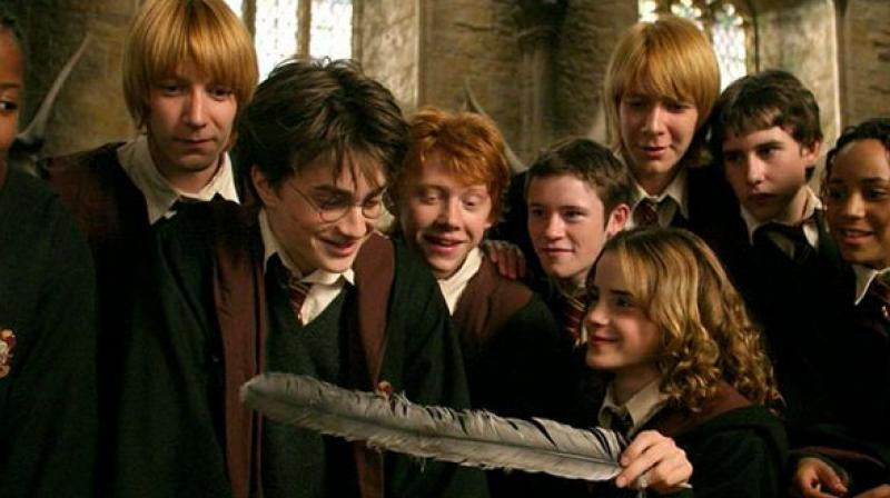 Harry, Ron, and Hermione celebrate