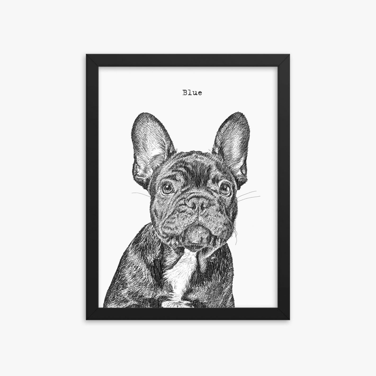 "A black and white sketch of a dog with the name ""blue"" on top"