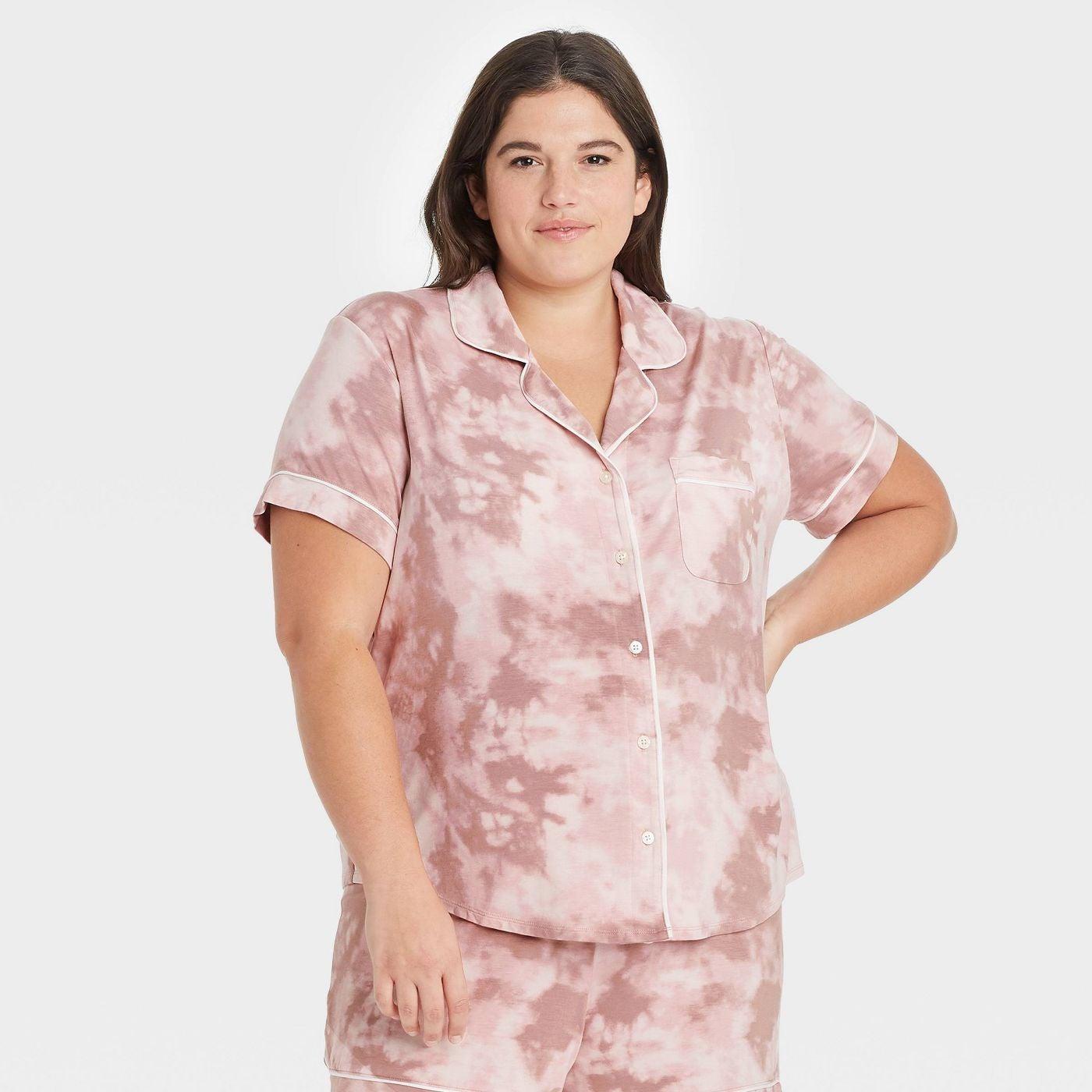 Pink tie-dye button down pajamas