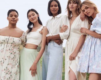 five models in Nuuly clothing