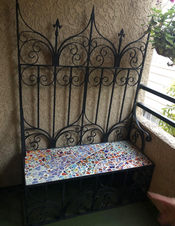 reviewer's bench re-done with a tile pattern on the seat
