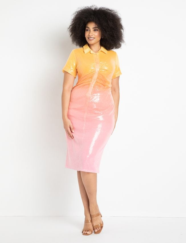 model in short sleeve orange and pink sequined dress