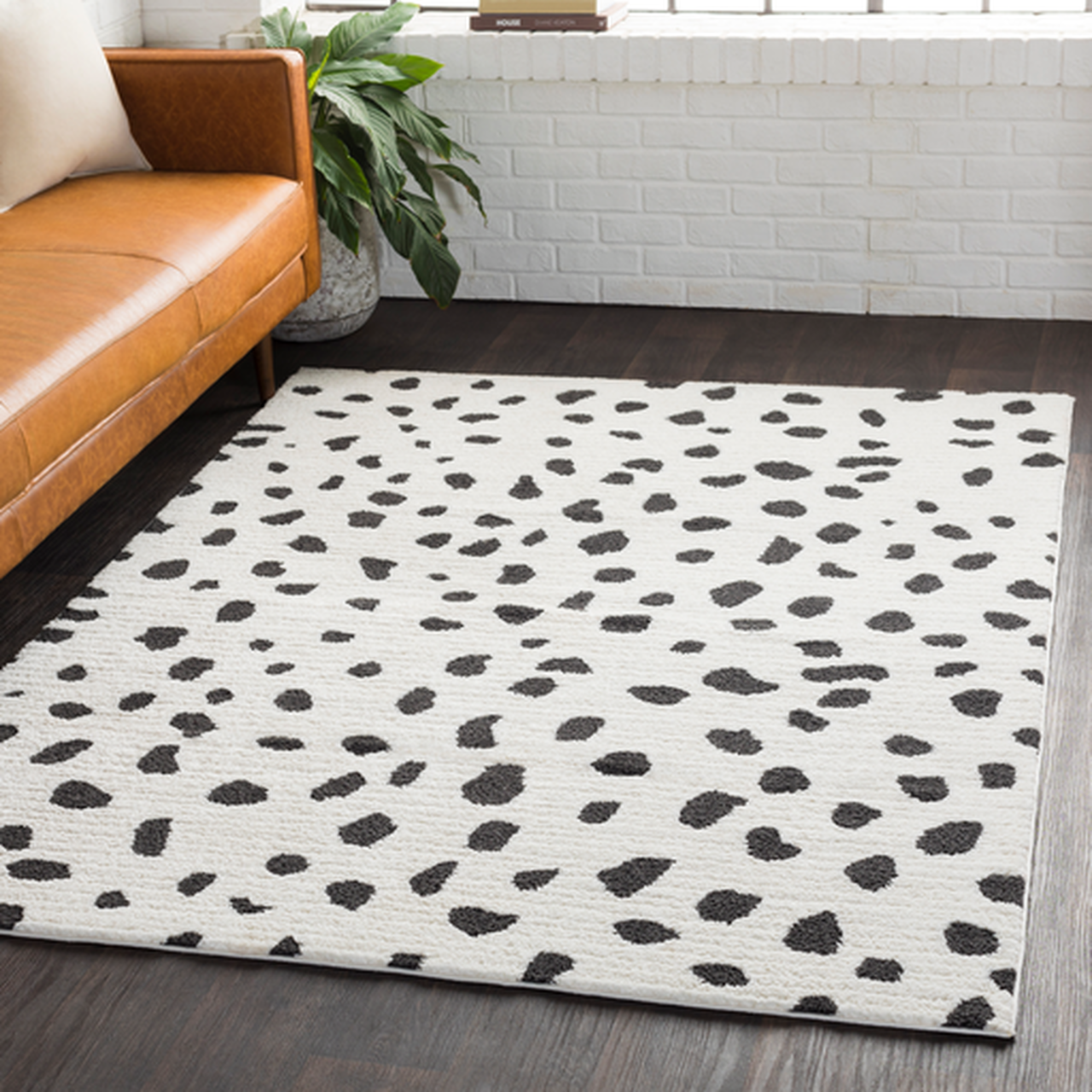 white rug with black Dalmatian spots