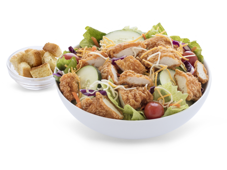 Salad with fried chicken bites
