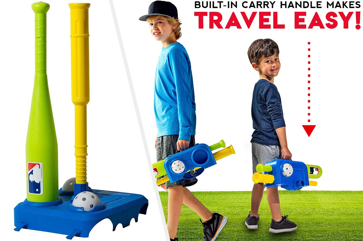 Split image of green bat with yellow tee and whiffle ball and two child models holding the set as a carrying case