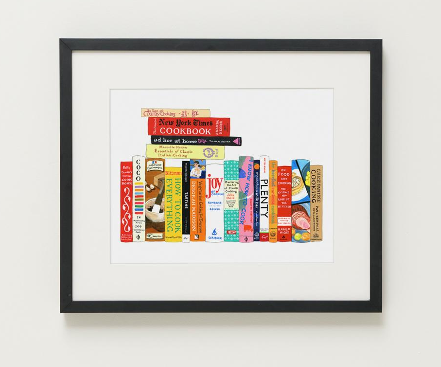 illustrated print of famous cookbooks lined up and stacked up