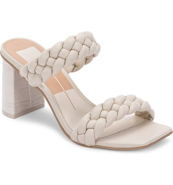 the heeled sandals in off white