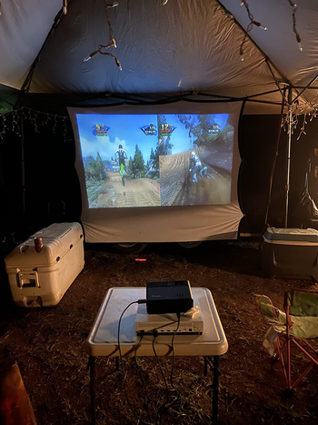 reviewer's projector hooked up to an x box