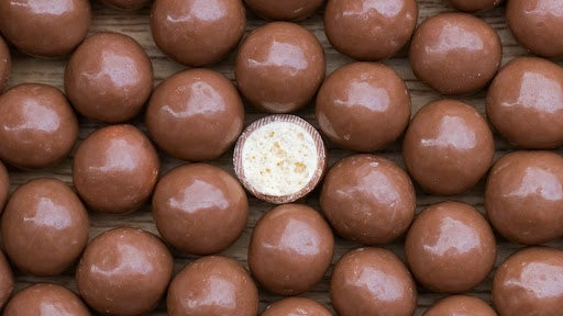 Round balls of chocolate with a hard, malt interior