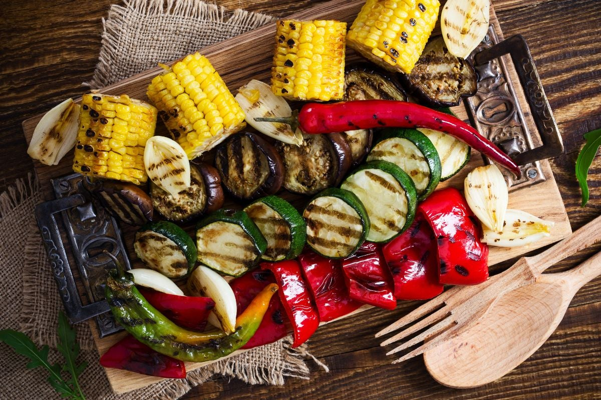 Roasted corn, eggplant, peppers, and zucchini