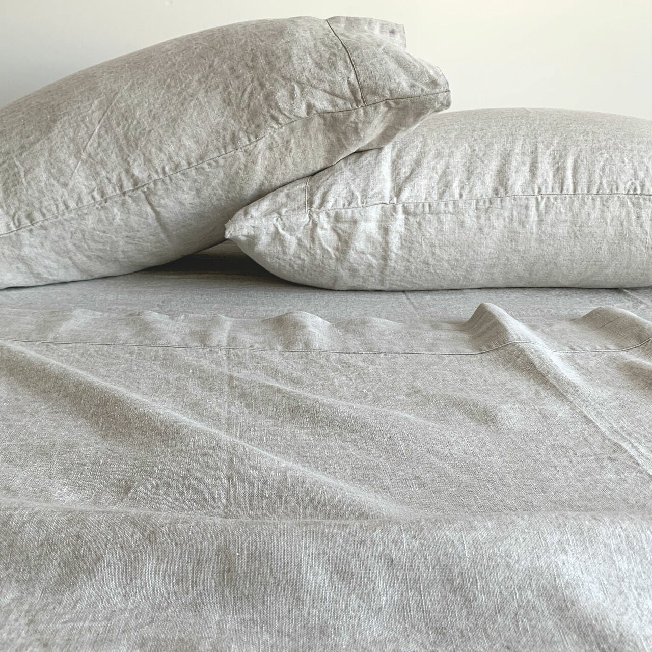 light tan linen sheets and matching pillowcases