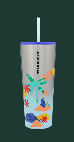A tall reusable Starbucks cup with seashells, palm trees, and tropical flowers on it