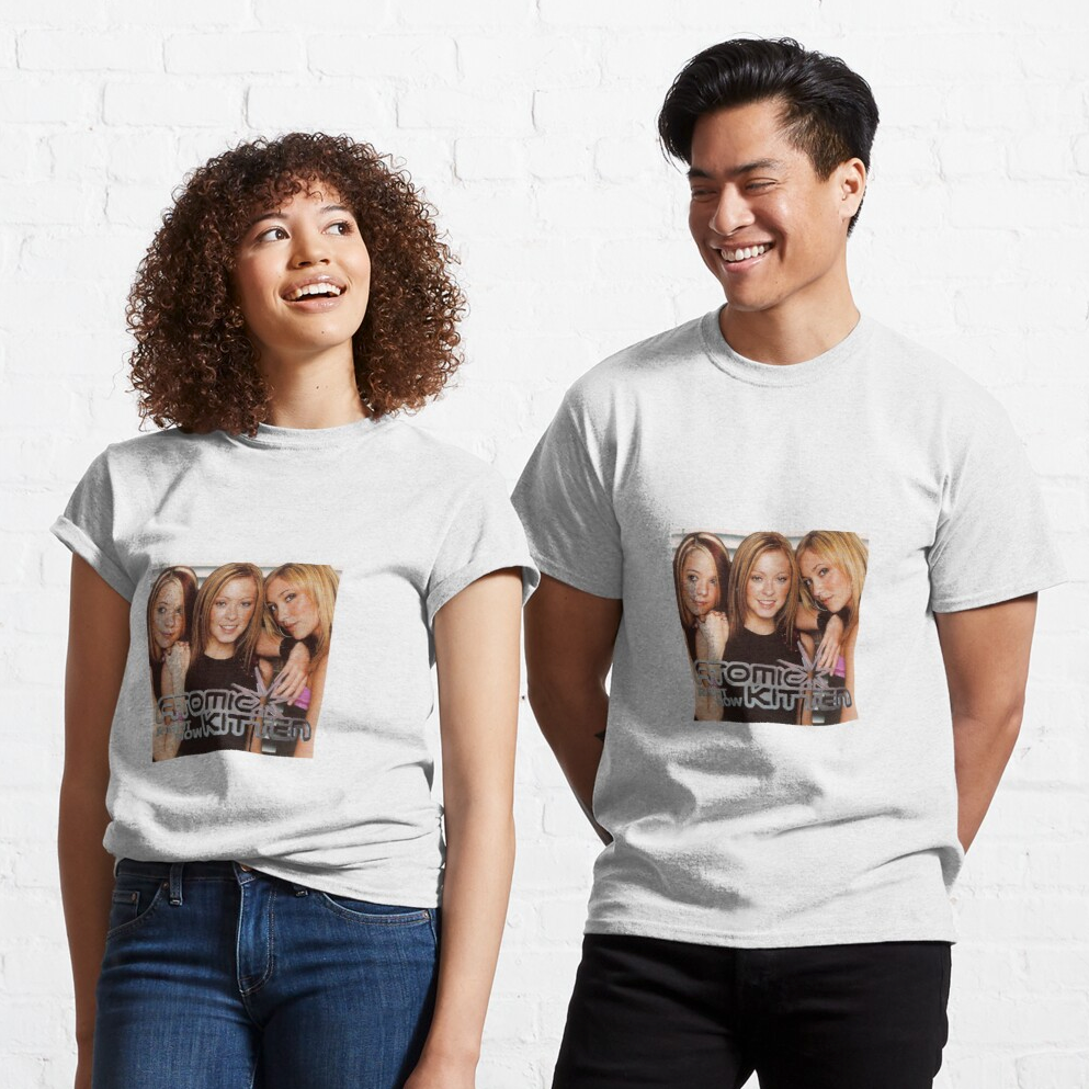 two model wearing the t-shirt with a photo of the atomic kittens and their group name printed on the front