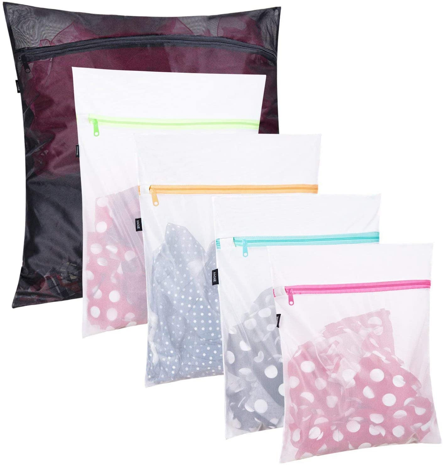 set of five different-sized mesh laundry bags with clothes inside