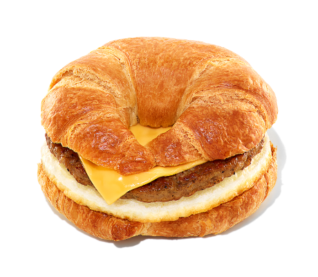 Sausage, egg, and cheese on a croissant