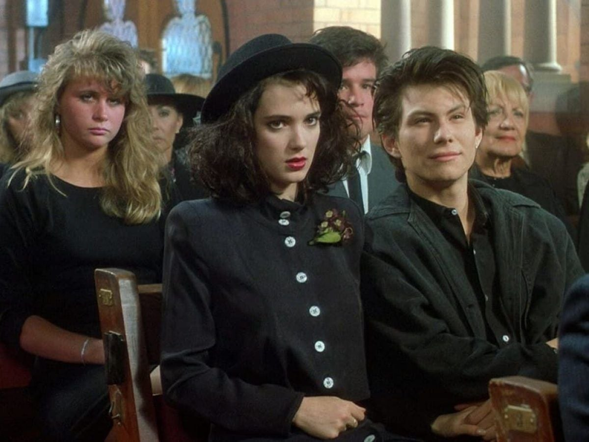"""Winona Ryder and Christian Slater as Veronica and J.D. in """"Heathers"""""""