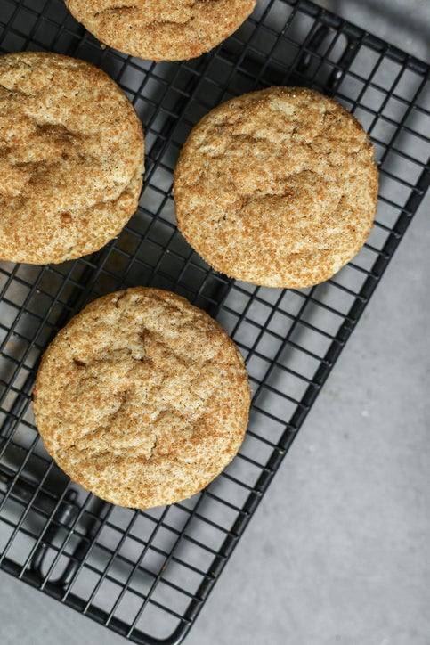 Snickerdoodle cookies on a tray