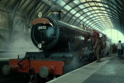 The Hogwarts Express sits in the station
