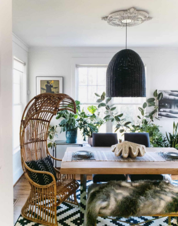 different reviewer image of medallion left as white and installed above dining room table