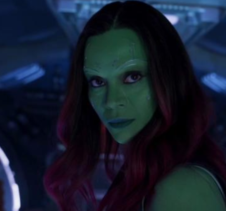 "Zoe Saldana as Gamora in the movie ""Guardians of the Galaxy."""