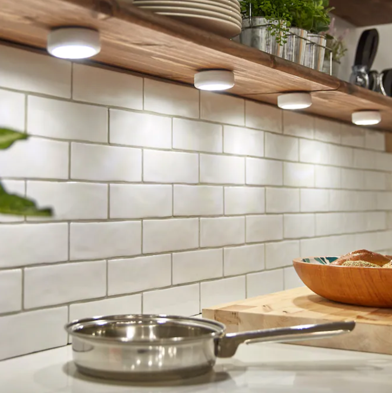 cabinet lights turned on in a kitchen