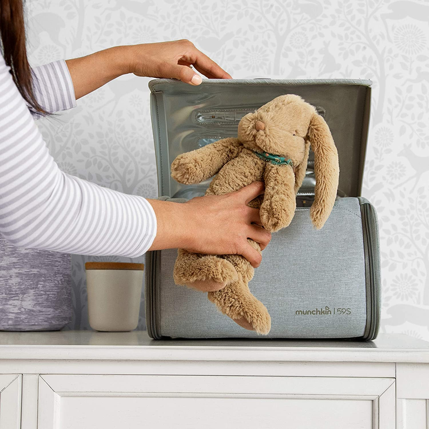 a model placing a stuffed animal in the sanitizer