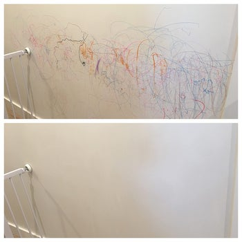 Reviewer photo of a before and after of their walls that had crayon marks on it