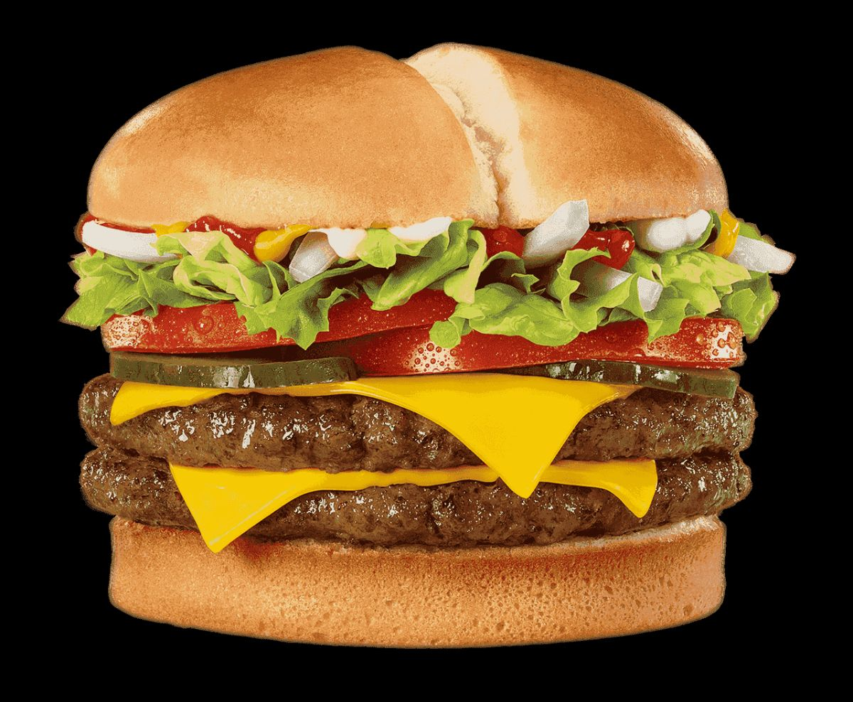 A double cheeseburger with lettuce, tomato, pickles, onions, ketchup, and mayo