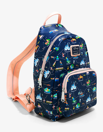 the blue backpack with all kinds of disneyland rides and icons on it and an orange strap