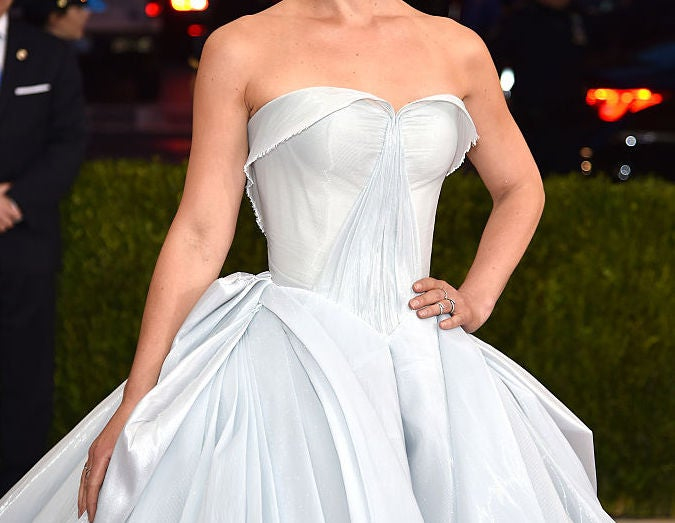 A large, strapless ball gown