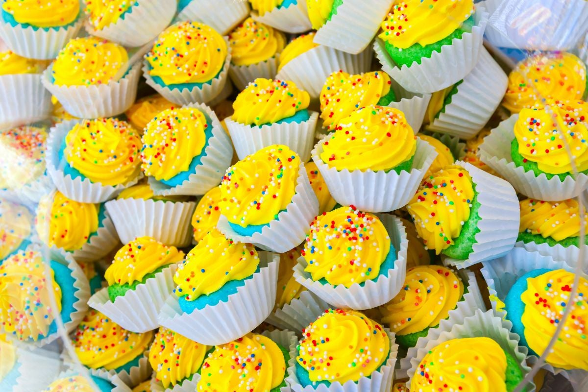Playful cupcakes with bright frosting and sprinkles
