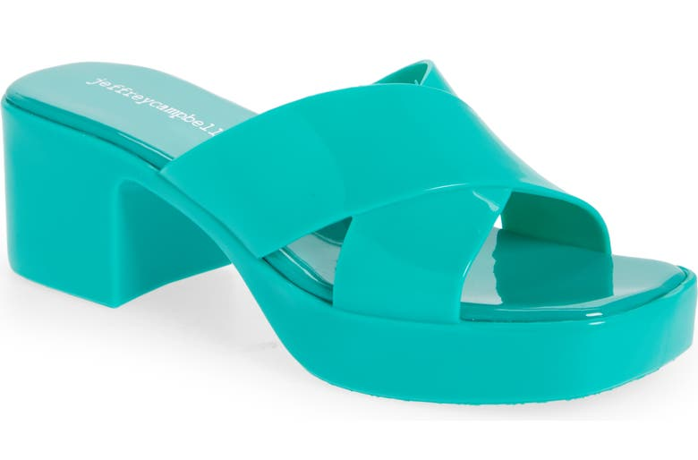teal chunky sandals with criss crossing straps