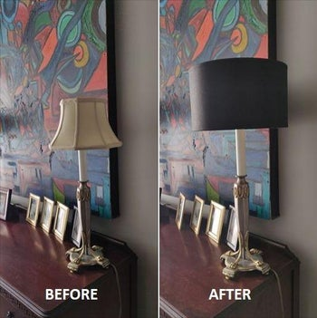 Before and after showing reviewer was able to keep a lamp base but swap out the lampshade