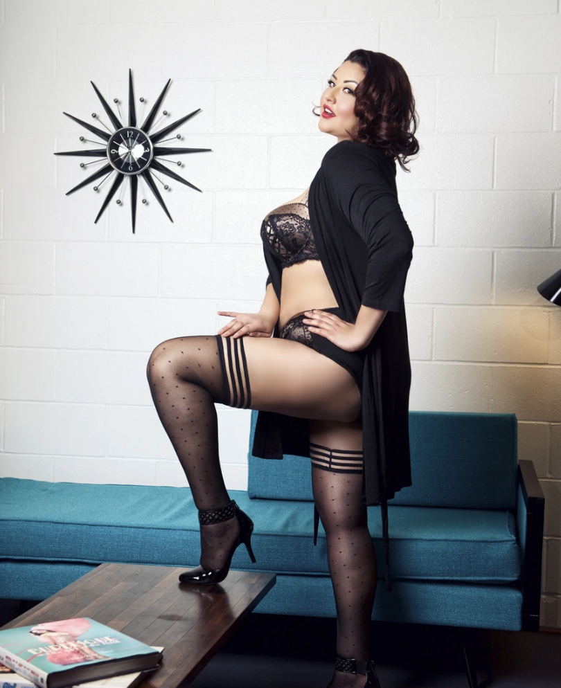 model wearing the thigh highs with black heels and lingerie