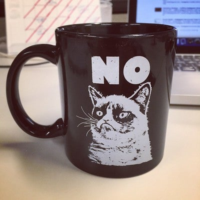 """Mug with Grumpy Cat's face and the phrase """"NO"""""""