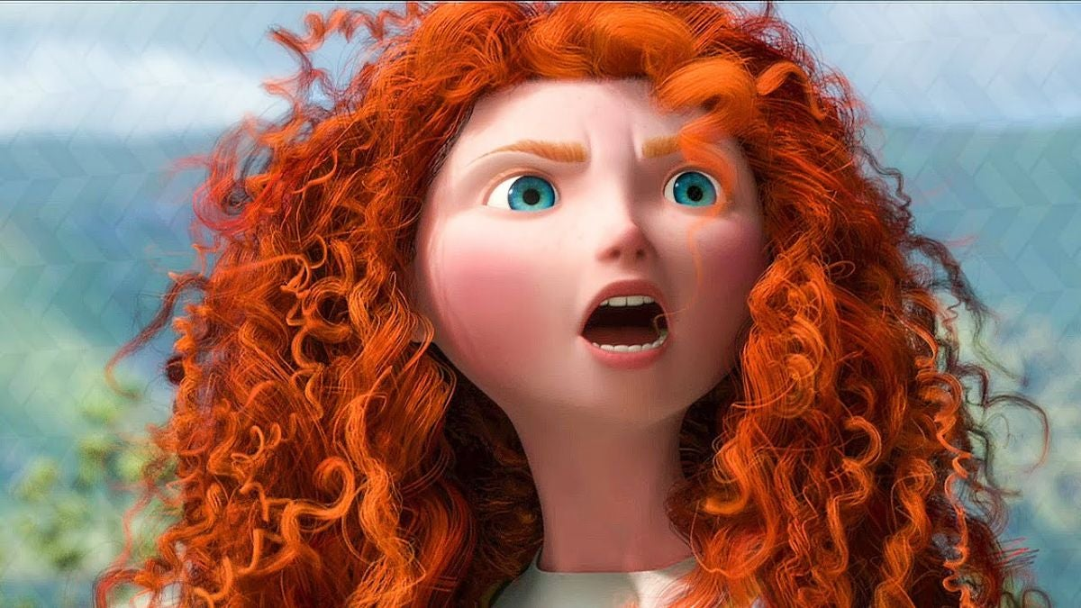 "Merida has a fierce look on her face  and her eyebrows furrowed in ""Brave"""