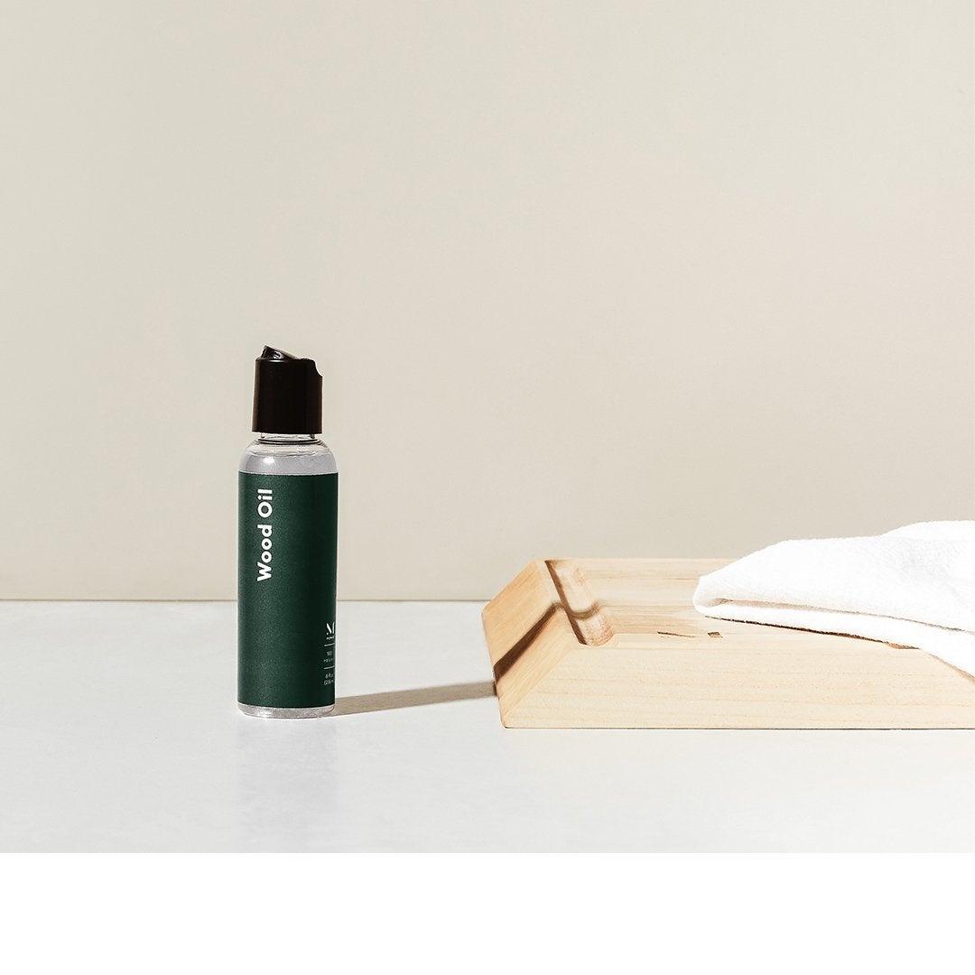 The bottle of wood oil